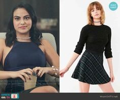 Urban Outfitters BDG Tai Plaid Circle Skirt worn by Veronica Lodge (Camila Mendes) on Riverdale Veronica Lodge Fashion, Veronica Lodge Outfits, Veronica Lodge Style, Retro Outfits, Cool Outfits, Fashion Outfits, Film Fashion, Navy Crop Top, Crop Tops