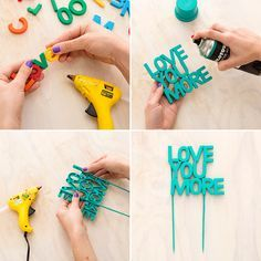 Turn alphabet fridge magnets into a custom cake topper. Such a good idea. Turn alphabet fridge magnets into a custom cake topper. Such a good idea. Diy Cake Topper, Custom Cake Toppers, Wedding Cake Toppers, Wedding Cakes, Photobooth Ideas, Diy And Crafts, Crafts For Kids, Ideias Diy, Pinterest Diy