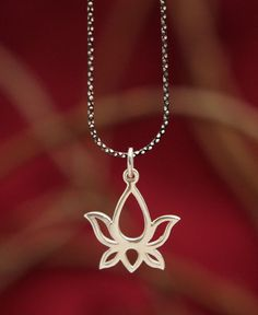 Lotus Necklace Sterling Silver Flower Necklace Christmas Gift