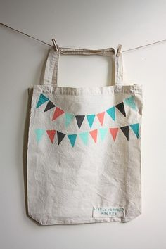 Flag Garland Calico Shopper by littleglowinglights on Etsy, $12.00