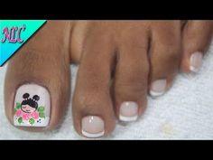 YouTube Manicure, Pedicure Nail Art, Toe Nail Art, Pretty Toe Nails, Pretty Toes, Classy Nails, Stylish Nails, Cute Pedicures, Diy Acrylic Nails