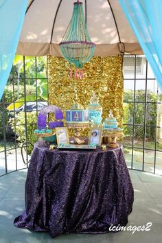 Beautiful DESSERT TABLE at an Aladdin (Jasmine) Themed Princess Birthday Party via Kara's Party Ideas KarasPartyIdeas.com Party supplies, tutorials, recipes, printables, cake, and more! #princessparty #princessjasmine #aladdinparty #aladdinpartyieas #princessjasmineparty #arabianprincess #cake #desserttable