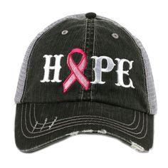 Hope Pink Ribbon Breast Cancer Awareness Women's Trucker Hat Cap by Katydid Christian Hats, Wholesale Hats, Hats Online, Cute Hats, Breast Cancer Awareness, Hats For Women, Sneakers Fashion, Baseball Hats, Baseball Buckets