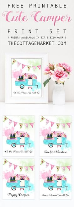 Here are 30 retro camper crafts that you can make at home try to free printable cute camper print set solutioingenieria Gallery