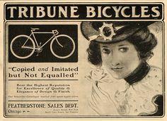 1901 Vintage Ad Tribune Bicycle Bike Featherstone Girl - ORIGINAL ADVERTISING #vintagebicycles