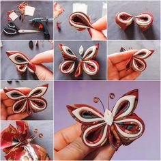 DIY Fabulous Silk Ribbon Butterfly Tutorial & DIY Tag on imgfaveHow to DIY Pretty Silk Ribbon Butterfly/Sweet For Hair AccessoryWonderful DIY Beautiful Fabric Flowers In 6 WaysFabric flowers are fun to make and can be used in many different ways. Ribbon Art, Diy Ribbon, Fabric Ribbon, Ribbon Crafts, Fabric Crafts, Diy Crafts, Paper Crafts, Fabric Butterfly, Butterfly Crafts