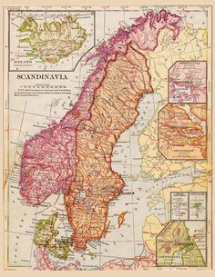 This is a high resolution scan of a beautiful old map of Finland, Sweden and Norway taken from a 1900 geography book. The colors are gorgeous. I highlighted a few sections so you can see the details. It will print out as an 8 and 1/2 by 11 inch page, but could go larger without losing details if you choose. This map shows Finland, Norway, Sweden, Iceland, with blow ups of Stockholm and Copenhagen.  This is an instant download!  You will receive a jpg and of this image in the email you have…