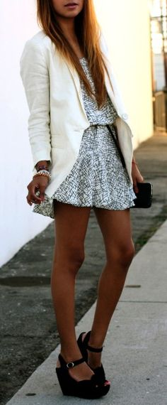 blazer with mini dress