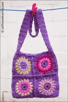 Bohemian Style Granny Square Crochet Bag