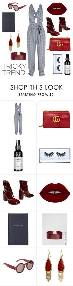 """untitled #0005"" by brianna-dennis ❤ liked on Polyvore featuring Mara Hoffman, Gucci, NYX, Huda Beauty, Maison Margiela, Lime Crime, Smythson, ASOS Curve, Marni and The Sak"