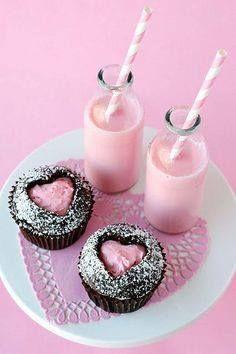 Strawberry milkshake and chocolate cupcakes