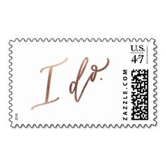 """""""I DO"""" Wedding Calligraphy Stamp // Rose Gold foil <a class=""""pintag"""" href=""""/explore/gold/"""" title=""""#gold explore Pinterest"""">#gold</a>#wedding"""