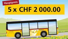 Gewinne mit dem Sommerwettbewerb vom #Postauto 5 mal CHF 2'000.- in bar, 3 mal eine #AppleWatch im Wert von je CHF 399.-, eine Woche Wellness-Ferien,  https://www.alle-schweizer-wettbewerbe.ch/gewinne-preise-im-wert-von-chf-24000/