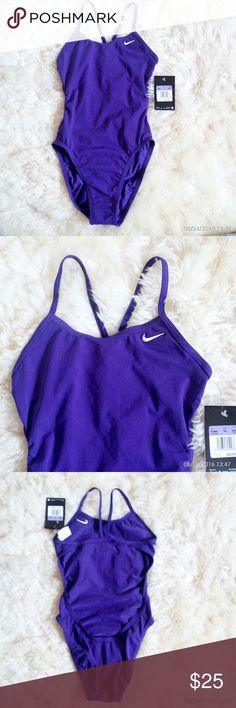 NWT Nike girls swimsuit 1 piece New with tags Nike girls swimsuit 1 piece size 26/GRL 10.. Keyhole back, skinny straps reduce tan lines, high cut leg allows full range of motion, embroidered Nike logo on left chest, 100 % polyester. Lining: 90 % polyester 10% spandex. Nike Swim One Piece