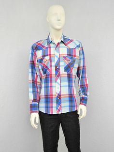 Vintage 70s Wrangler Colorful Plaid Western Shirt, Mens Cowboy Shirt, Pearl Snap Shirt, Long Sleeve Shirt, Country Shirt, Size L