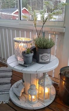 Beautiful Backyard Decor.  Change out the ice skates and replace with sea shells and you take your porch decor from winter to summer.