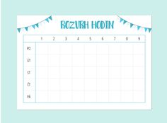 Rozvrh hodin – Mint Print Diy Back To School, School Plan, Cute Planner, Happy Planner, Planners, Organization Lists, School Suplies, Treasure Boxes, School Hacks