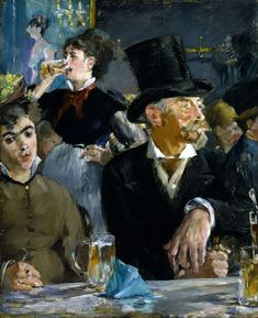 "Édouard Manet was a French painter. He was one of the first artists to paint modern life, and a pivotal figure in the transition from Realism to Impressionism. (Wikipedia) (""The Café Concert"" by Edouard Manet) Pierre Auguste Renoir, Edgar Degas, Post Impressionism, Impressionist Paintings, Oil On Canvas, Canvas Art, Canvas Prints, Camille Pissarro, Art Institute Of Chicago"