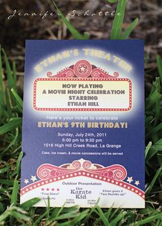 Invitation Idea - Night at the Movies Birthday Party - Kara's Party Ideas - The Place for All Things Party Movie Theater Party, Movie Night Party, Party Time, Movie Nights, Party Party, 9th Birthday Parties, Birthday Ideas, 10th Birthday, Outdoor Movie Party
