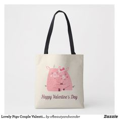 Lovely Pigs Couple Valentine   Tote Bag Pig Stuff, Edge Design, Personalized Products, Pigs, Happy Valentines Day, Reusable Tote Bags, Elegant, Stylish, Couples