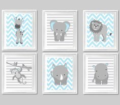 Zoo Nursery Art Baby Boy Baby Room Decor by SweetPeaNurseryArt