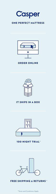 """Try the Casper for 100 nights with free shipping and painless returns. Our award-winning mattress is delivered to your door in a small """"how did they do that?"""" sized box. Sleep on it, lounge on it, dream on it — if you don't love it, we'll pick it up and give you a full refund."""