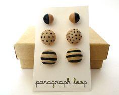 Black stud earring set polka dot earrings striped by paragraphloop, $20.00