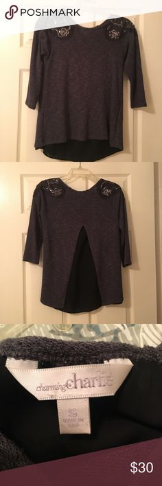 🍂SALE🍂Charming Charlie gray sweater This sweater has quarter length sleeves and shear fabric on the back. It is super cute with dark jeans and boots. The shoulder have cute sequin designs on them. It has been worn a handful of times and is in great condition. It is a size small. Charming Charlie Sweaters