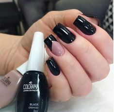 Salve este Pin e clique 2 vezes na foto, Receba mais de 100 ideias internacionais de unhas pintadas, Vc vai amar! Acrylic Nail Designs Glitter, Black Acrylic Nails, Simple Acrylic Nails, Simple Nails, White Nails, Pink Nails, Classy Nails, Stylish Nails, Trendy Nails