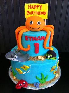 A sea creatures cake created by a talented Deweys decorator Cake