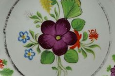 Antique Georgian Pair of Plates Hand Painted Florals 1820 period found on Ruby Lane