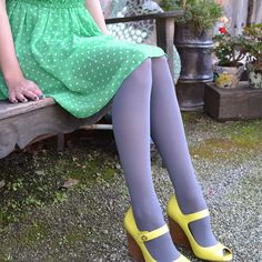 Opaque Zokki Tights in Silver Grey by #tabbisocks