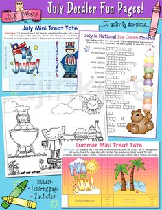 July printables, summer activites, July activities, summer fun for kids, summer ideas