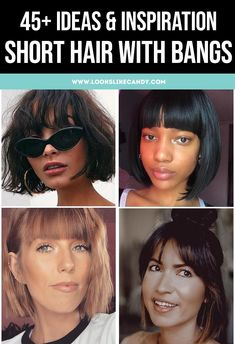 Image of four short hair with bangs hairstyles Short Hair With Bangs, Cute Hairstyles For Short Hair, Straight Hairstyles, Short Hair Styles, Curly Short, Straight Across Bangs, Face Framing Bangs, Textured Bangs, Feathered Bangs