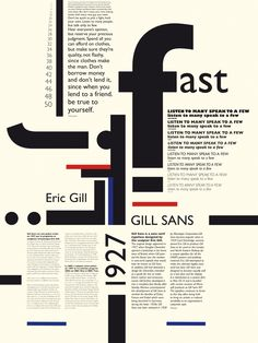 AFFICHE TYPOGRAPHIQUE : GILL SANS on Behance
