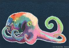20 Whimsical Embroidered Animals By Kimika Hara.a colourful octopus Creative Embroidery, Modern Embroidery, Embroidery Art, Cross Stitch Embroidery, Japanese Embroidery, Thread Painting, Fabric Painting, Fabric Art, Embroidery Techniques