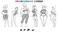 Girls, big and small by sykosan Figure Drawing Reference, Drawing Reference Poses, Drawing Poses, Body Drawing, Anatomy Drawing, Manga Drawing Tutorials, Art Tutorials, Character Drawing, Character Design