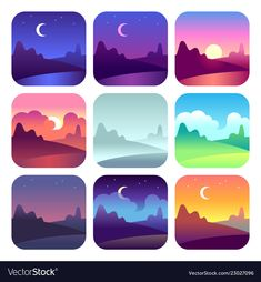 Different Day Times. Early Morning Sunrise And Sunset, Noon And Dusk Night. Sunrise Drawing, Countryside Landscape, Morning Sunrise, Vector Art, Vector Icons, City Vector, Scenery Wallpaper, Art Plastique, Aesthetic Art