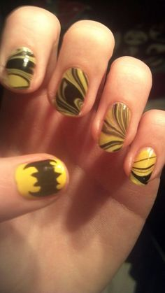 I absolutely love this! I'd love to do this for all the girls, except in the colors for their characters. Batman Nail Designs, Batman Nail Art, Superhero Nails, Gel Nail Art Designs, Colorful Nail Designs, Cute Nail Designs, Nails Only, Love Nails, How To Do Nails