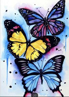 Butterfly Mosaic, Butterfly Artwork, Butterfly Drawing, Butterfly Pictures, Butterfly Painting, Butterfly Watercolor, Butterfly Wallpaper, Watercolor Art, Butterfly Colors