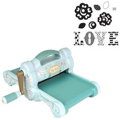 Sizzix 30301 Big Shot Cutting/Embossing Kit #1 with Machine and 'Love' Framelits & Stamps, Powder Blue/Teal  $108,70