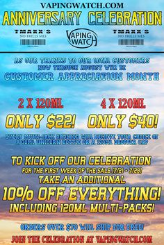 Vapor Joes - Daily Vaping Deals: CELEBRATE: TMAXX - 2 X 120 $22.00 / 4 x 120ML $40....