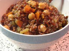 L'Artusina: Riso Rosso Integrale e Ceci. Orzo, Crepes, Cooking Time, Quinoa, Chili, Vegan Recipes, Food And Drink, Soup, Winter