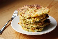 Zucchini Corn Pancakes. by girlversusdough, via Flickr (go easy on the salt. The recipe calls for 2 teaspoons! Should read 1/2 teaspoon - or to taste.) Very good topped with freshly sliced avocado and sour cream with salt & pepper.