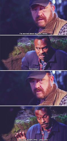 11x16 Safe House // Bobby: I'm worried about my boys, Rufus. Rufus: Your boys? Hey hey alright, okay.. papa bear.