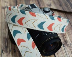 dSLR Camera Strap - Slate Blue and Coral Pink Arrows - Arrow Camera Strap dSLR - pinned by pin4etsy.com