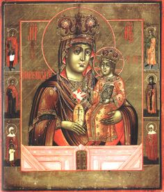 """Incredibly powerful wonderworking icon of the MostHoly Glorious Lady Theotokos and EverVirgin Mary """"Softener of Evil Hearts."""" The MostHoly Mother of God is depicted with seven swords piercing Her heart (Luke 2:35), three on the right, three on the left, and one from below. The icon appears to be of Western origin. I prayed to it and felt Her immediately. Very, very powerful."""