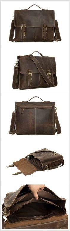 Vintage Genuine Cow Leather Briefcase Messenger Bag Men's Handbag