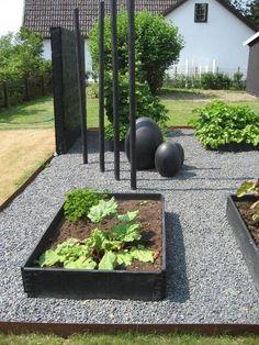 Garden Design Vegetable - New ideas Vegetable Garden Design, Veg Garden, Garden Beds, Modern Garden Design, Contemporary Garden, Modern Design, Back Gardens, Outdoor Gardens, Gravel Garden