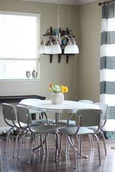 Reupholstered Vintage Diner Set:  such a beautiful transformation and she teaches you HOW to do it!